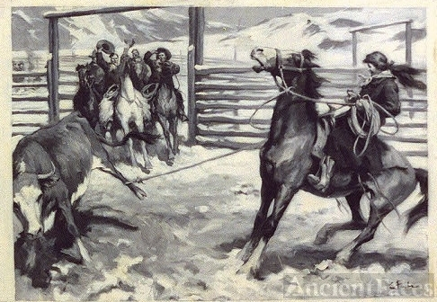 The bellowing steer was dragged backward, his left foot...