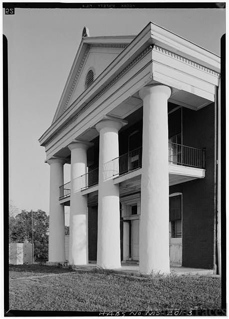 Northwest front from west, detail of portico - Alcorn...