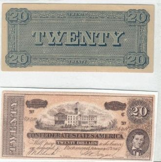 Confederate $20.00 Bill