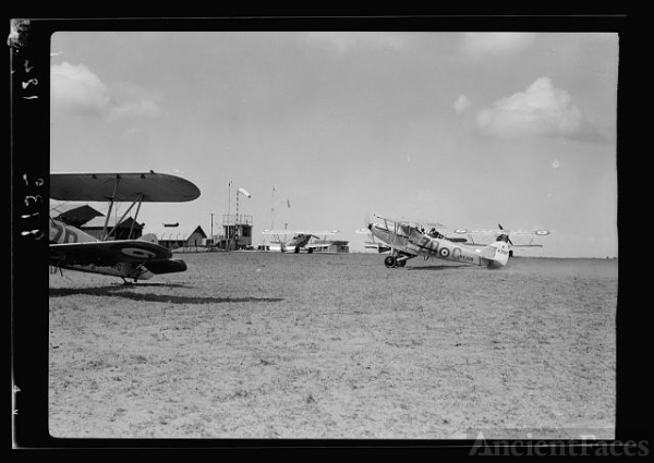 R.A.F. activities. Plane returning to home in Ramleh...