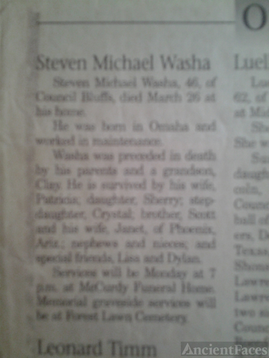Steven M Washa Obituary
