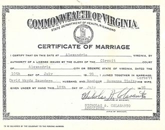 Saunders and Corbett marriage certificate
