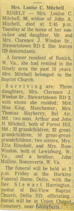 Obit of Louisa Mullins Mitchell