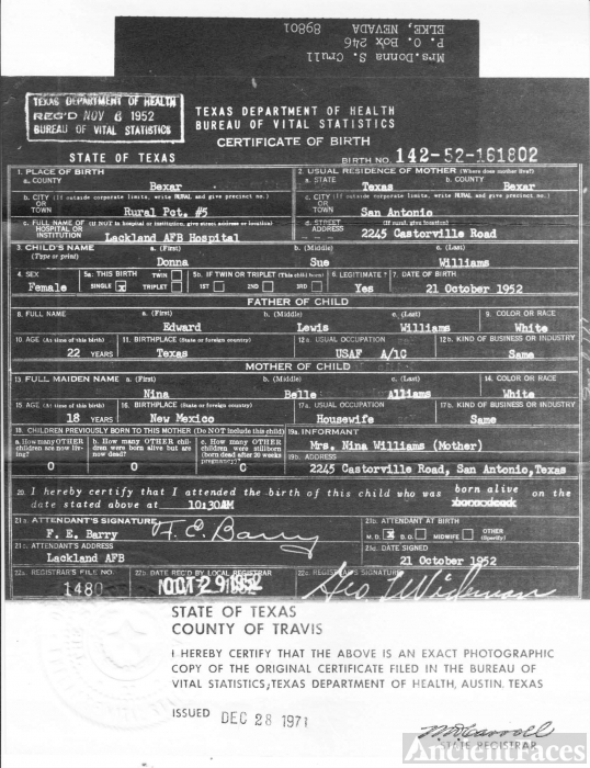 Donna Sue Crull Birth Certificate, Texas