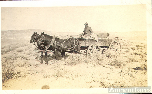 Gil Cromwell in wagon - Deaver Canal Wyoming