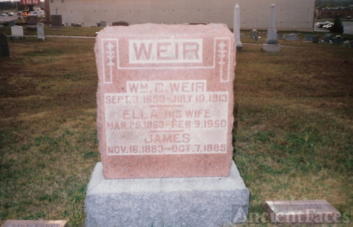 William Chestley Weir,Luella Martha Piper & James Weir gravestone