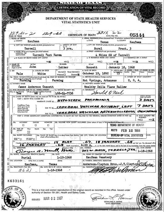 Gossett, John Luther Death Certificate