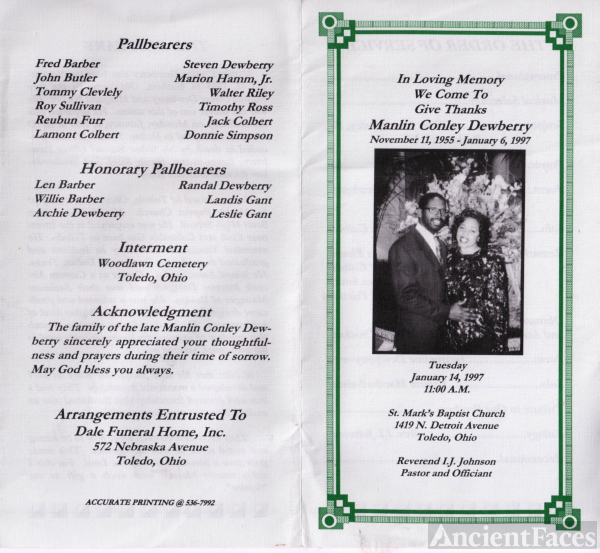 Manlin Conley Dewberry funeral program