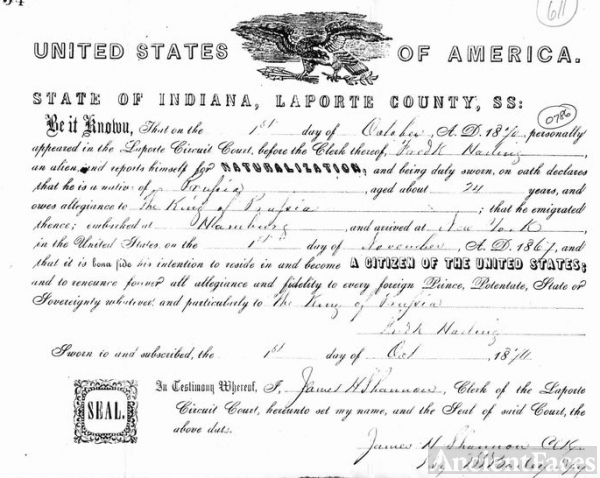 Naturalization Paper for Fredrick Halling