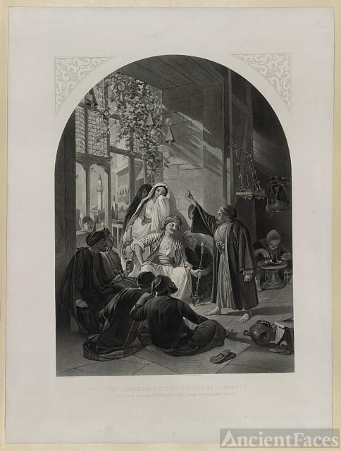 The hunchback story-teller of Damascus. Reciting in a...