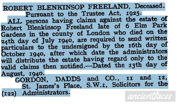 Robert Blenkinsop Freeland Estate Notice