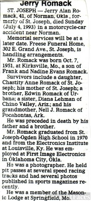 Jerry Romack Obitituary 1993 Illinois