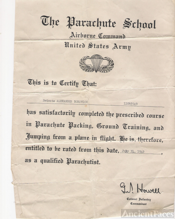 A. Borowick Parachute School certification