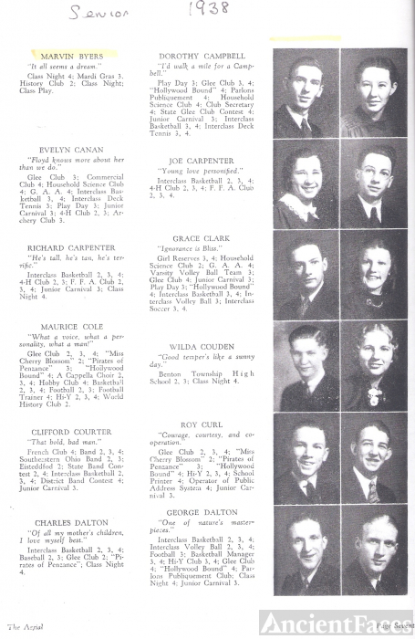 Marvin Byers & Logan High  Seniors, 1938