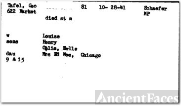 George Tafel's Obit Card