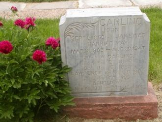 Gravestone John Carling * Harriet May Mcbride