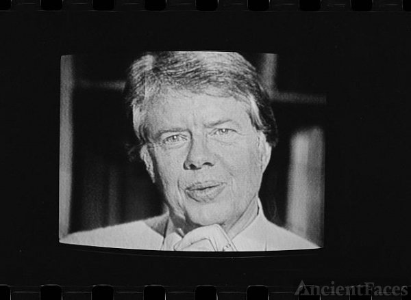 [President Jimmy Carter on television during his first...