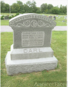 The Tombstone of Christian Carl aka Henry F. Carl (17 Sep 1822-4 Feb 1895) and His Wife, Anna Mary Selbert (11 July 1832-20 July 1898)