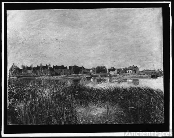 [Village on shore of the Marne]