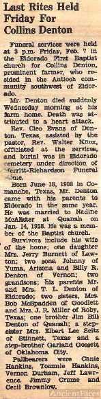 Obituary Notice of Collins Denton