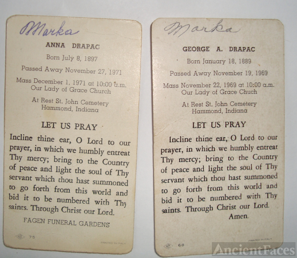 George & Anna Drapac funeral cards