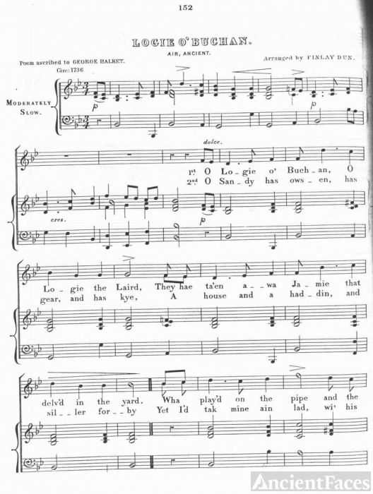 Musical score of George Halket/Halkett's poem
