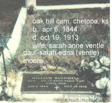 william blundell gravesite, Chetopa Kansas