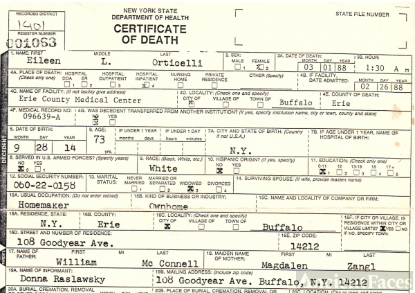 Eileen L. (McConnell) Orticelli death certificate