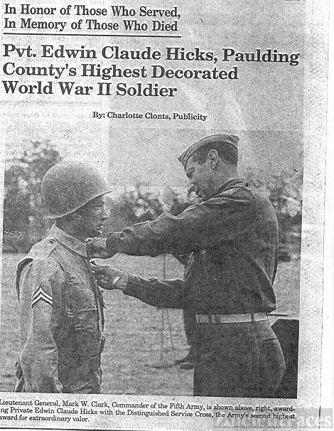 Edwin Claude Hicks, Paulding Co Ga highest decorated WWII Soldier