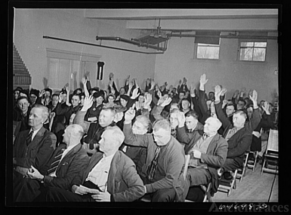 Williston, North Dakota. Farmers' union meeting with the...