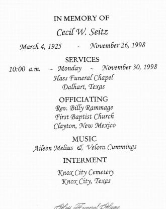 Obituary of Cecil W. Seitz of Dalhart, Texas