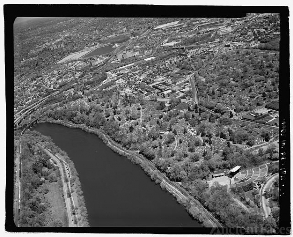 AERIAL VIEW, LOOKING NORTHEAST. - Laurel Hill Cemetery,...