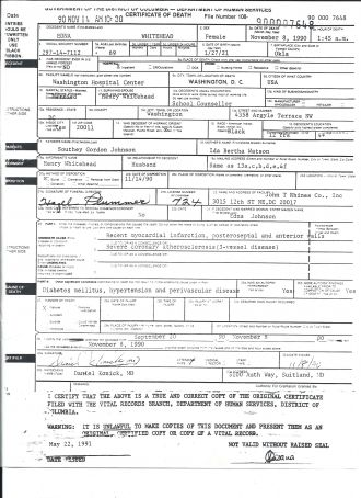 Edna Johnson Whitehead death certificate