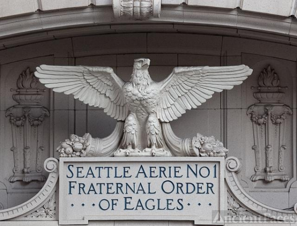 Aerie No. 1, Fraternal Order of Eagles building detail,...