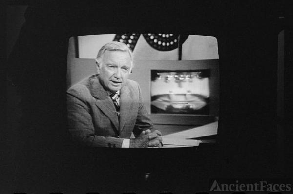 [Walter Cronkite on television during 1st presidential...