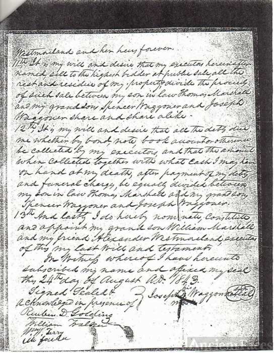 Will of Joseph Waggoner (page 3)
