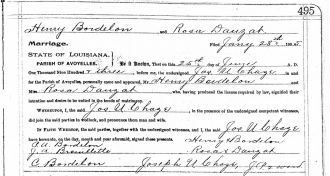 Marriage License Henry C Bordlon and Rosalee Dauzat 1903