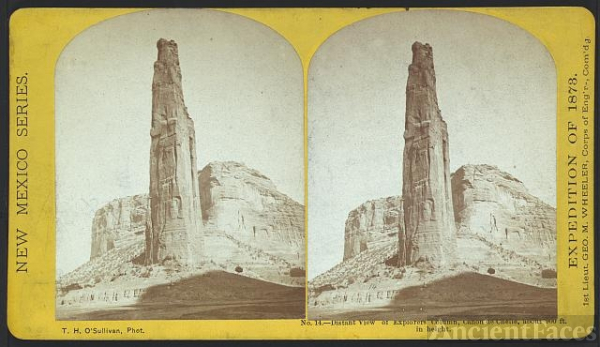 Distant view of Explorers column, Cañon de Chelle, about...