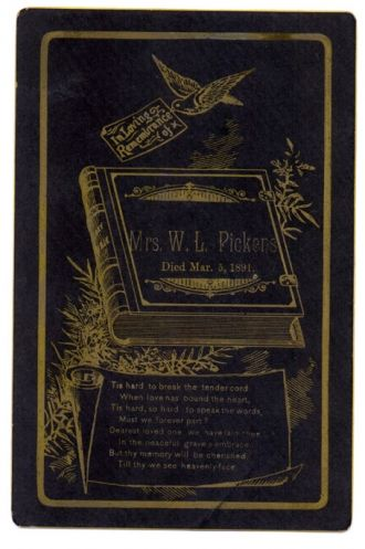 Mrs W. L. Pickens funeral card