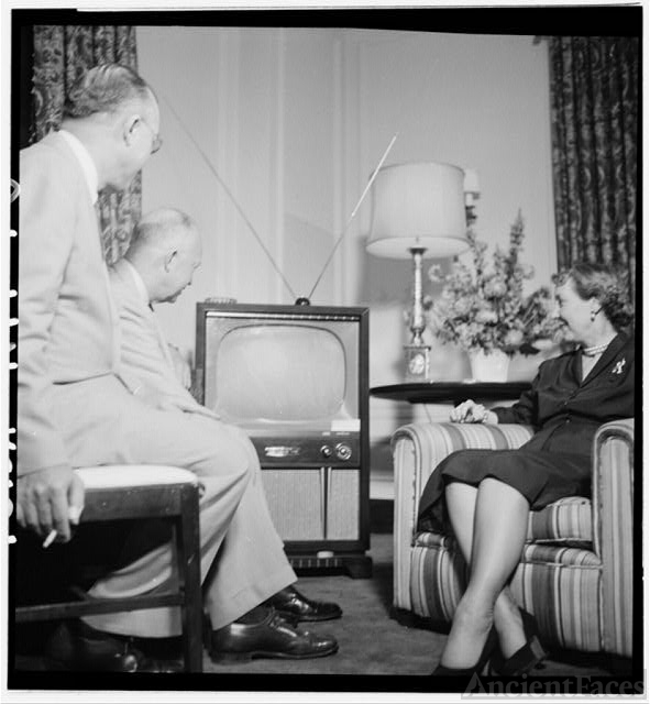 [Dwight and Mamie Eisenhower watching a television during...