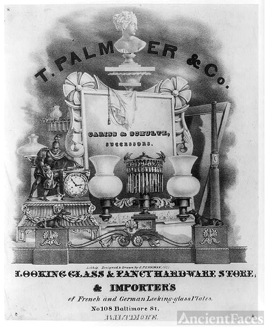 [Trade advertisement for T. Palmer & Co. Looking glass...