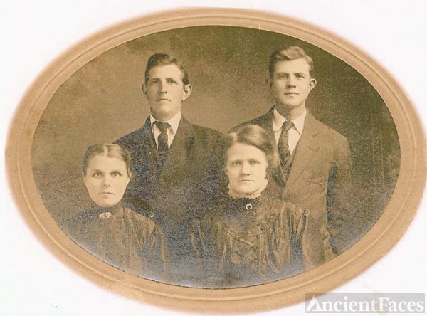 Mrs. Homer (Kate Stevens) Sheeks With Two of Her Sons & a Daughter-in-Law