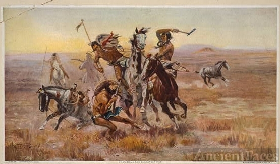 When Sioux and Blackfeet met / C.M. Russell 1902.
