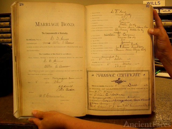 Marriage License of Sam D. Ames and Ollie Bowen