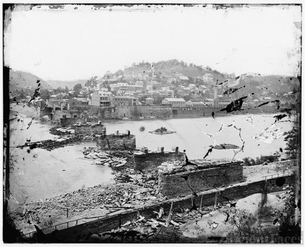 [Harper's Ferry, W. Va. View of town; railroad bridge in...