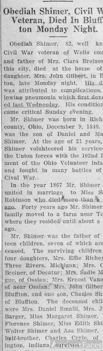 Obediah Shimer, Civil War Veteran