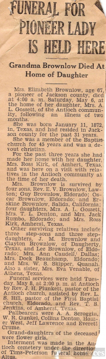 1939 Obituary for Elizabeth E. Skipper Brownlow