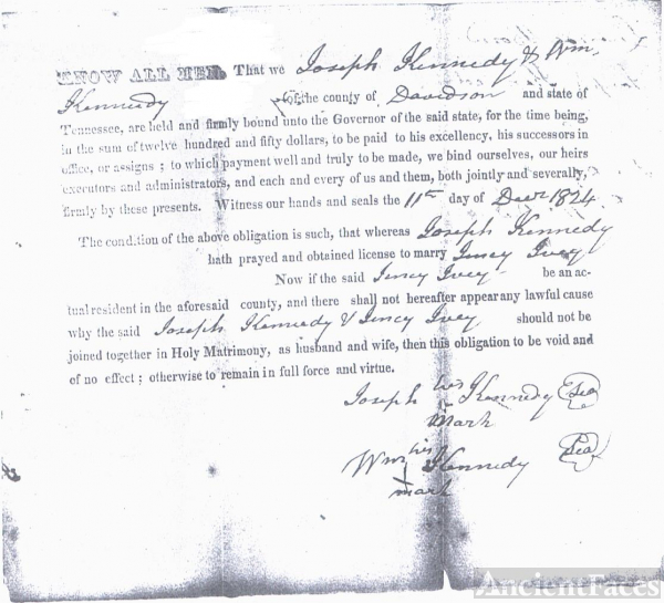 Marriage Bond of Joseph Kennedy & Jincy Ivey