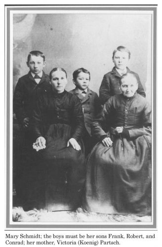 Mary (Partsch) Schmidt, sons, mother Victoria