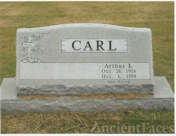 The Tombstone of Arthur L. Carl, 1916-1999, in Pennsboro, Dade Co, Missouri